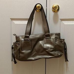 Silver faux leather shoulder handbag